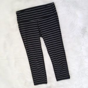Athleta Grey Black Striped Cropped Leggings